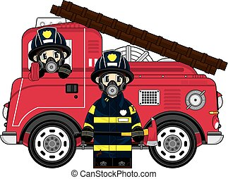 Cartoon Firemen and Truck