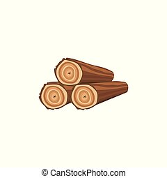 Cartoon firewood stack icon with three wood logs isolated on white background