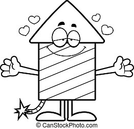 Cartoon Firework Hug - A cartoon illustration of a firework...