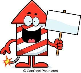 Cartoon Firework Sign - A cartoon illustration of a firework...