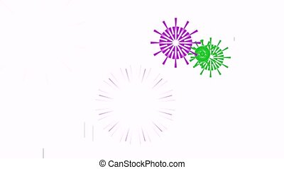 Cartoon fireworks of different colors for the background.
