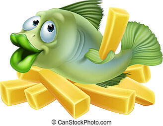 Cartoon fish and chips - A cartoon of a fish and chips,...