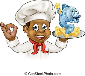 Cartoon Fish and Chips Chef - A cartoon black chef character...