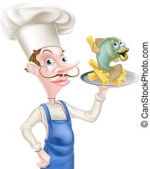 Seafood cartoon chef holding a platter or plate with fish and chips on it