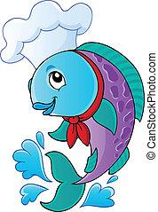 Cartoon fish chef - vector illustration.