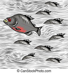 Cartoon Fish Swimming on Water Background - Cartoon Fish...