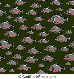 Cartoon Fish Swimming Seamless Pattern - Cartoon Piranha...