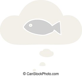 cartoon fish symbol and thought bubble in retro style