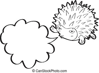 Cartoon fish-urchin with speech bubble