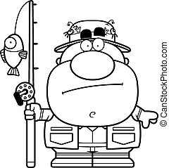 Cartoon Fisherman Bored