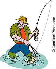 Cartoon fisherman fly fishing