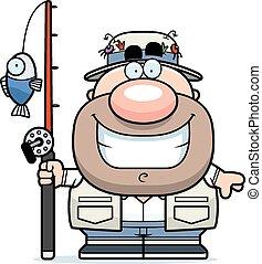 Cartoon Fisherman Smiling - A cartoon illustration of a ...