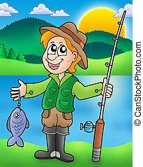 Cartoon fisherman with fish - color illustration.