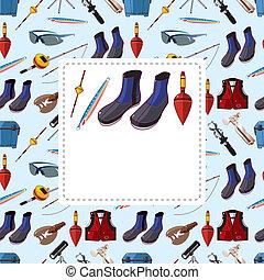 cartoon fishing equipment tools seamless pattern