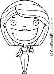Cartoon Fitness Woman Thumbs Up