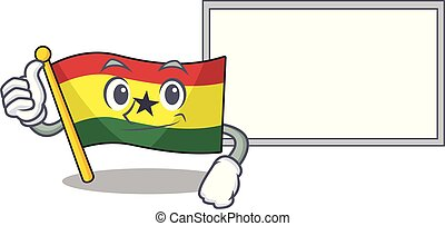 Cartoon flag ghana isolated in character thumbs up with board