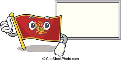 Cartoon flag montenegro isolated in character thumbs up with board