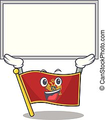 Cartoon flag montenegro isolated in character up board . Vector illustration
