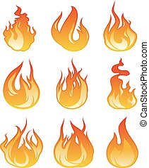 Cartoon flame set. Vector illustration of fire flaming