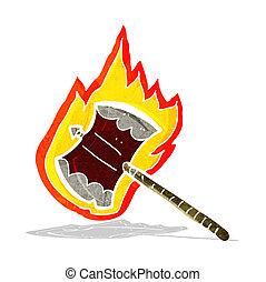 cartoon flaming axe