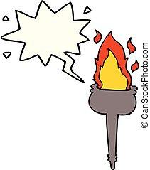 cartoon flaming chalice and speech bubble - cartoon flaming ...