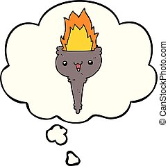 cartoon flaming chalice and thought bubble - cartoon flaming...