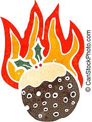 cartoon flaming christmas pudding