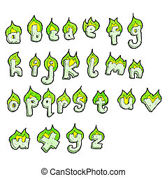 cartoon flaming green letters alphabet