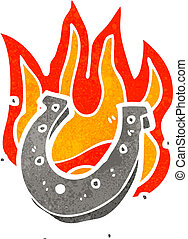 cartoon flaming lucky horse shoe