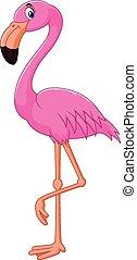 Cartoon flamingo bird - Vector illustration of Cartoon...