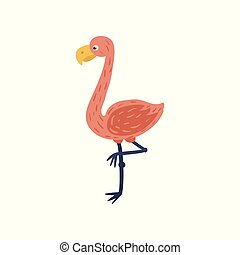 Cartoon flamingo with pink feathers, yellow beak and thin long legs. Exotic bird character. Isolated flat vector element for postcard, print or sticker