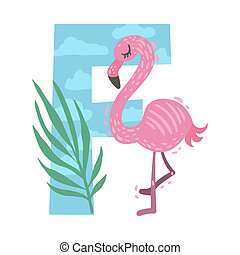 Cartoon flamingo with the letter F. Vector illustration on a white background.