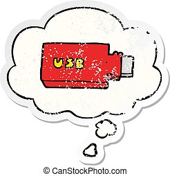cartoon flash drive and thought bubble as a distressed worn sticker