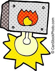 cartoon flashing fire warning light