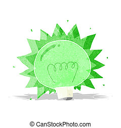 cartoon flashing green light bulb