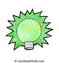 cartoon flashing green light bulb