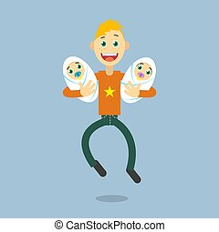 flat art illustration of a cartoon happy father with two...