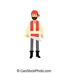 Cartoon flat bearded pirate character standing with saber in hand, ship s crew member