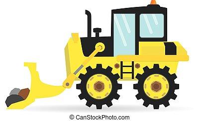 cartoon flat bulldozer vector industry transportation illustration