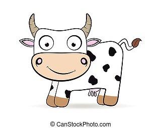 cartoon flat cow vector farm animal illustration