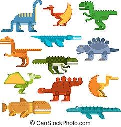 Cartoon flat dinosaurs and aquatic reptiles
