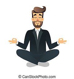Cartoon flat happy office manager sitting and meditating....