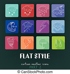 Cartoon flat icons vector collection with long shadow effect in stylish colors. Weather Part 2. Isolated on background.