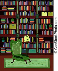 Cartoon Flat interior library room or office psychologist...