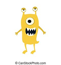 Cartoon flat monsters big icon. Colorful kid toy cute monster. Vector