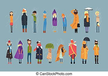 Cartoon flat people characters set freezing outside. Rainy and snowy weather. Boy with bouquet of flowers, man in raincoat, girl with umbrella