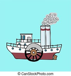 steamship in the retro style