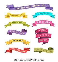cartoon flat style ribbons set