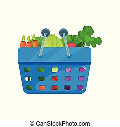 Cartoon flat vector icon with organic vegetables in plastic shopping basket. Fresh and healthy food. Natural products