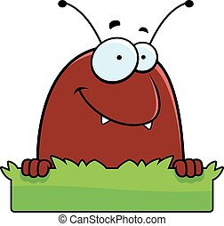 A cartoon illustration of a flea with a grass sign.